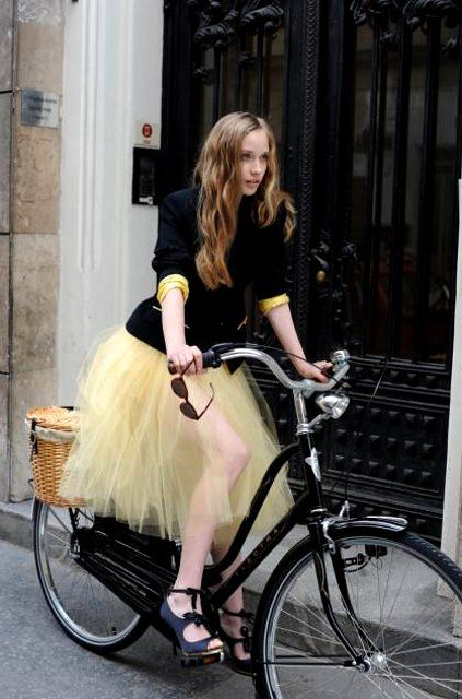 yellow tulle on a bike.