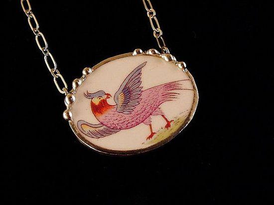 Broken china jewelry necklace antique bird of paradise china