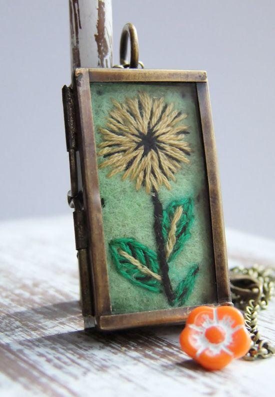 Embroidered Flower Locket by Thimbleful on Etsy, $35.00