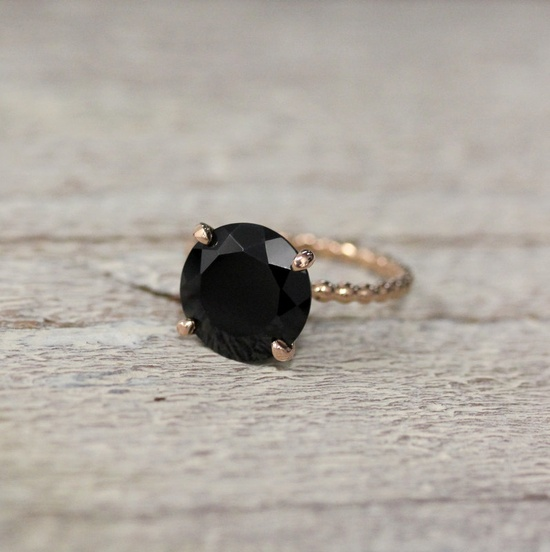 Black Spinel and 14k Rose Gold Recycled Gold Solitaire Ring, Cocktail Ring Made in Your Size