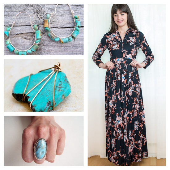 This vintage dress would look so great with turquoise jewelry so I found a small sampling of some on Etsy