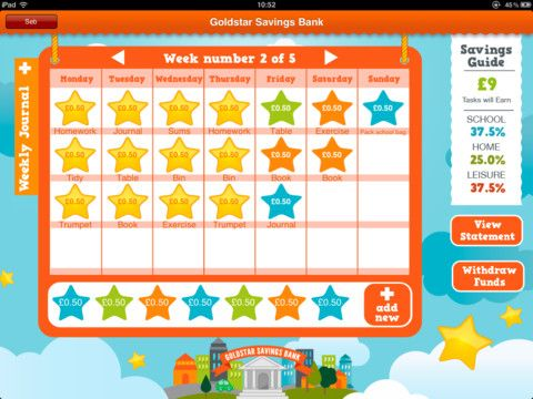 Goldstar Savings Bank ($2.99) Teaching children the importance of saving & the value of money. Fun & creative it challenges kids to use & develop their soft skills with creative activities. The Goldstar Savings Bank App helps you to teach your children how to Plan to Save.