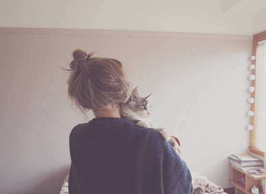 {girl and her cat}