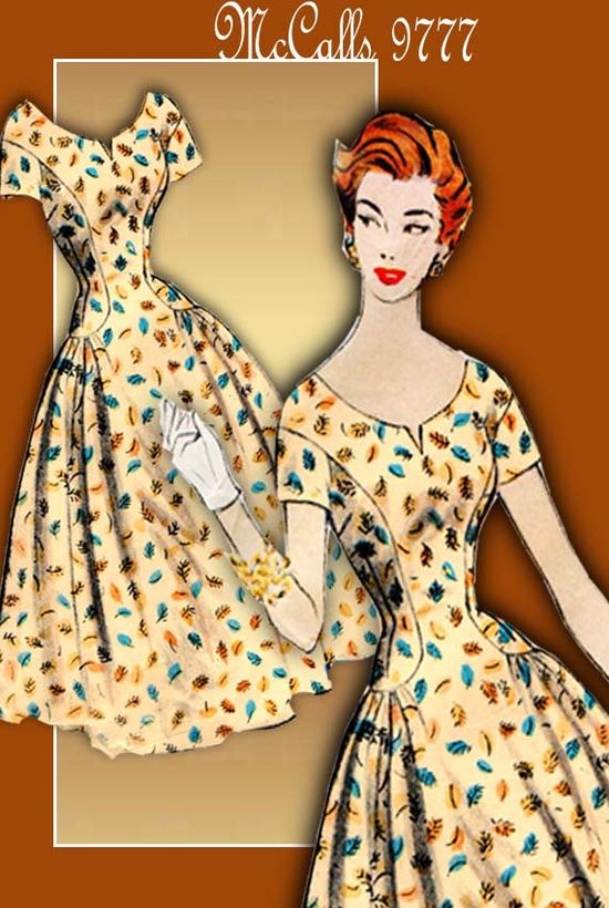 Vintage Dress Pattern McCalls 9777 1950s Rockabilly Party Dress with Bouffant Skirt.