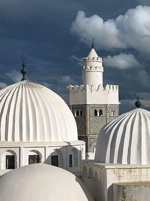 White domes of Sidi Bou Makhlouf Mausoleum in El Kef, Tunisia