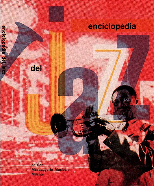 Book cover by Max Huber, 5/1 9 5 5,  Enciclopedia del Jazz (from Gebruachsgraphik).