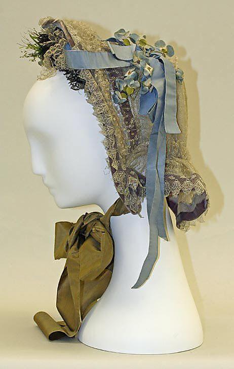 Circa 1863 cotton, silk, and metal Bonnet, American