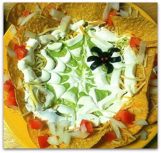 Halloween Party Foods - Spiderweb Spookamole Recipe