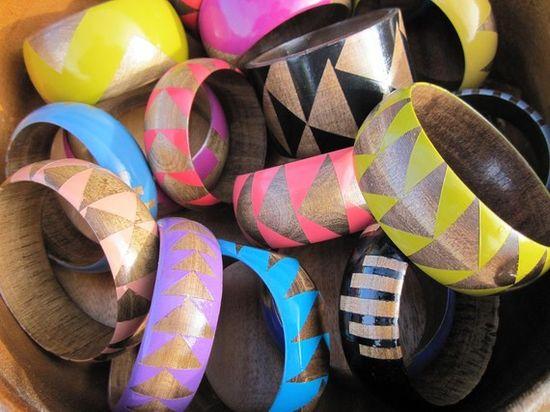 painted wooden bracelets