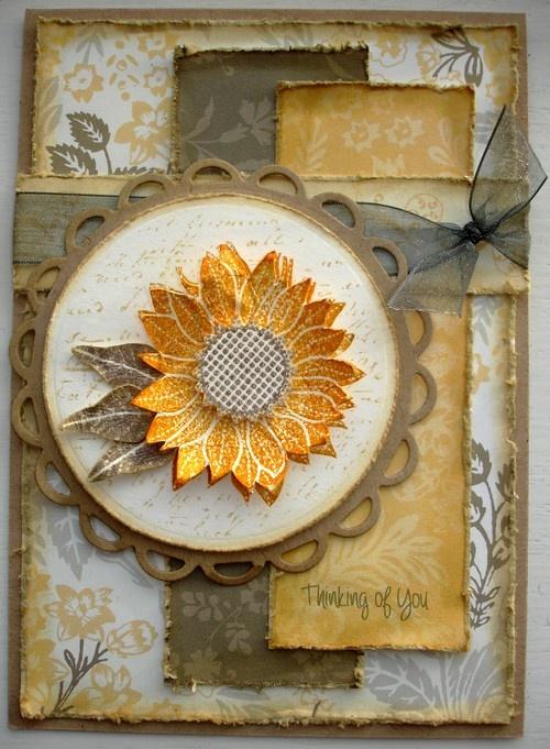 Sunflower handmade card.