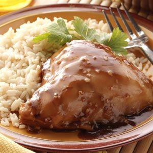 Sweet and Saucy Crock Pot Chicken Recipe from Taste of Home