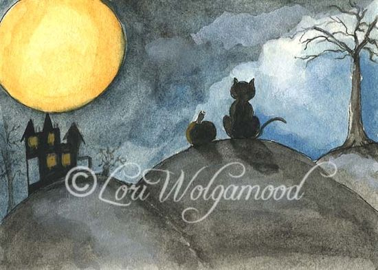 ACEO - Cat and Pumpkin on a Moonlit Night - Halloween Watercolor - Vintage Nest Designs, Creative Handmade and Hand Painted Designs