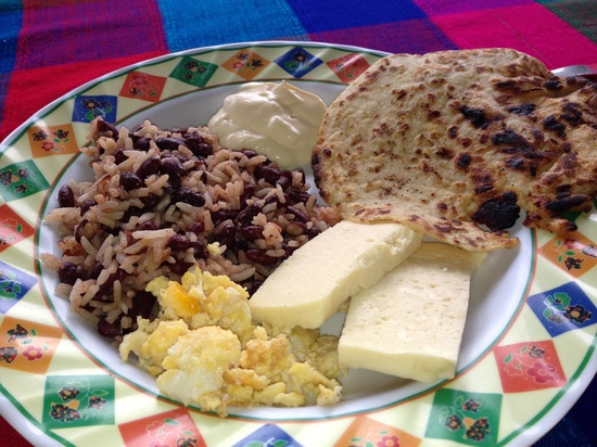 Costa Rican gallo pinto, handmade tortilla and natilla