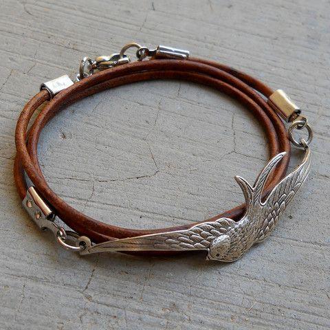 Fly Away - Antique silver vintage sparrow genuine Greek leather wrap bracelet, light brown....
