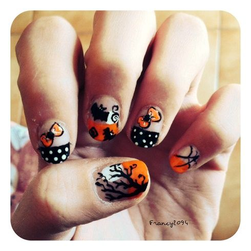 Halloween french by francy2094 - Nail Art Gallery nailartgallery.na... by Nails Magazine www.nailsmag.com #nailart