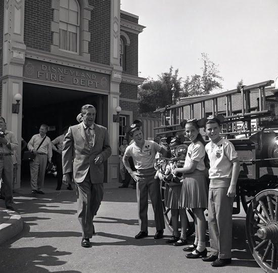 Walt Disney in front of Fire Station at Disneyland