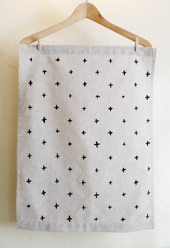 Black Plus Tea Towel by cottonandflaxshop on Etsy
