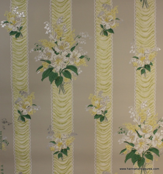 1940's Vintage Wallpaper yellow and gray by HannahsTreasures