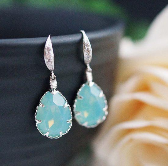 Wedding Bridal Earrings Bridesmaid Earrings Mint by earringsnation