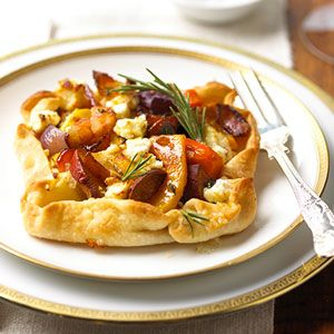 rustic winter vegetable tart using bacon, goat cheese, and squash