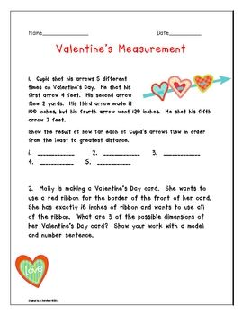 Students can practice their measurement skills with the Valentine's themed activities.  There is a 6 question worksheet, area and perimeter activit...
