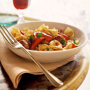 It's hard to believe this delicious sausage, sweet pepper, and pasta main dish recipe only takes 30 minutes to prepare.