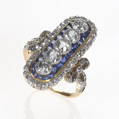 Victorian Diamond and Sapphire Ring.
