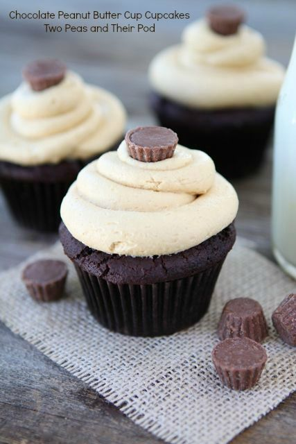 Chocolate Peanut Butter Cup Cupcakes from www.twopeasandthe... There's a Reese's PB Cup inside! #recipe #cupcake
