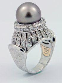 Black Tahitian Pearl and Diamond Ring, 14k White Gold.  via Etsy.