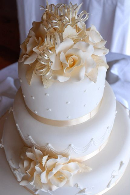 Ivory Roses Wedding Cake - WOW