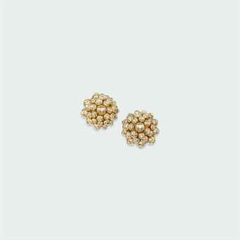 A PAIR OF DIAMOND-SET EAR CLIPS, BY CARTIER