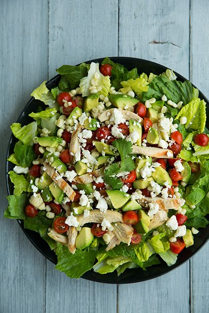 Salad with Grilled Chicken, Avocado, Tomato  Honey-Lime  Cilantro Vinaigrette