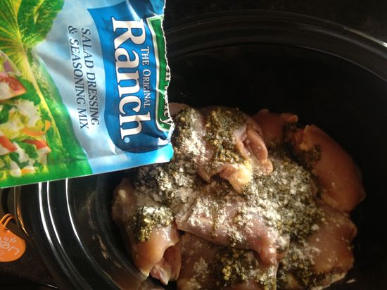 Gluten Free Pesto & Ranch Chicken Crock Pot Recipe ? Pack of chicken thighs 1 (8 ounce) jar of pesto (although I never use the whole jar) 1 (0.25 ounce) package ranch dressing mix 2-3 cups chicken stock