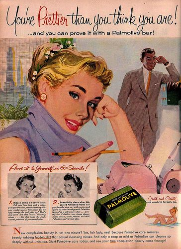 You're prettier than you think you are! ...and you can prove it with a Palmolive bar! #vintage #ad #makeup #cosmetics #soap #1950s #secretary #office