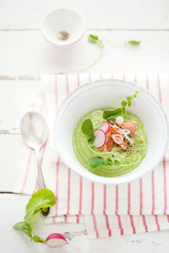 Avocado and Apple Soup with Poached Salmon