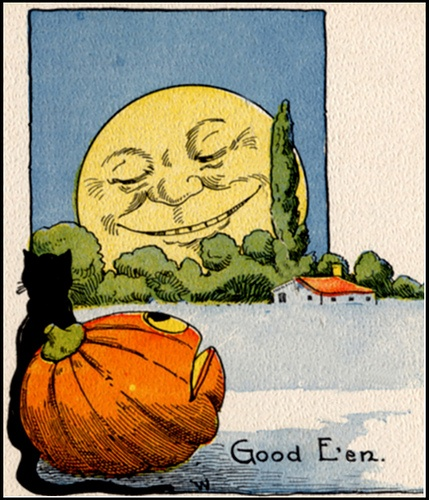 "vintage  ""Good E'en"" pumpkin to moon vintage print"