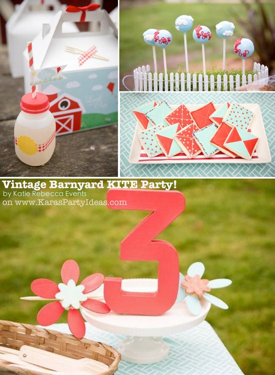 Vintage Barnyard KITE themed birthday party via Karas Party Ideas