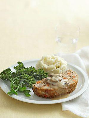Savory Meat Loaf & Mushroom Gravy