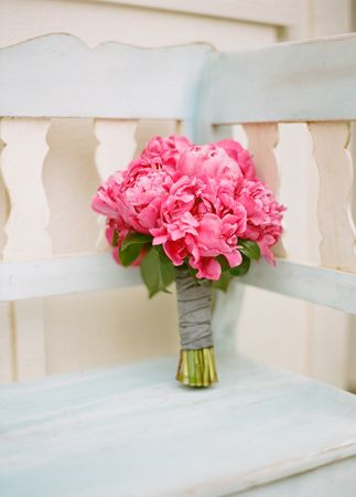 Pink peony bridesmaid bouquet // Aaron Delesie Photographer // San Ysidro Ranch // Planning: Lisa Vorce at Oh, How Charming!