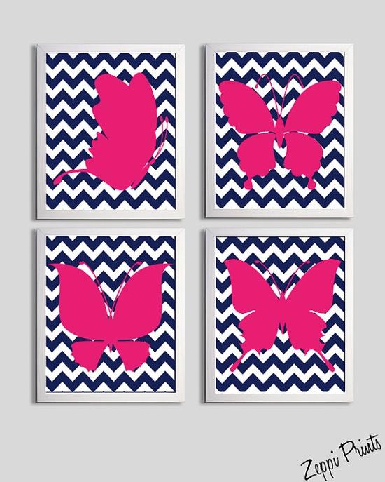 Navy Chevron & hot pink prints. FAB