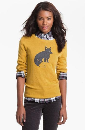 Mustard Patterned Crewneck Sweater / Nordstrom