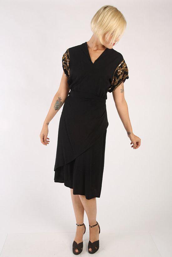 1940s Dress // vintage 40s rayon // Black by dethrosevintage, $156.00
