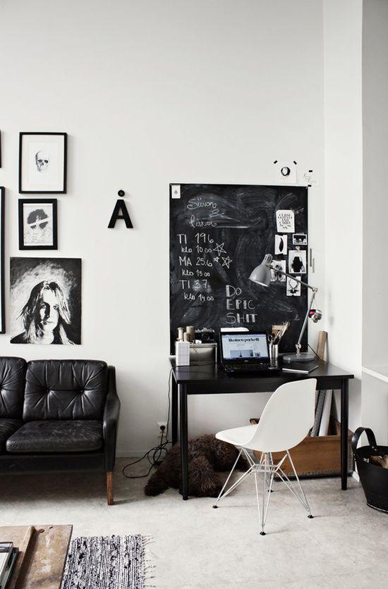 chalk board, work space, desk