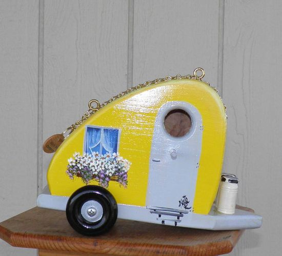 Yellow Retro Teardrop Trailer Bird House