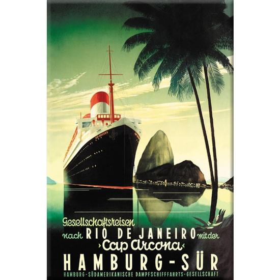 Hamburg Sur Wrapped Canvas Art - I love vintage travel posters!