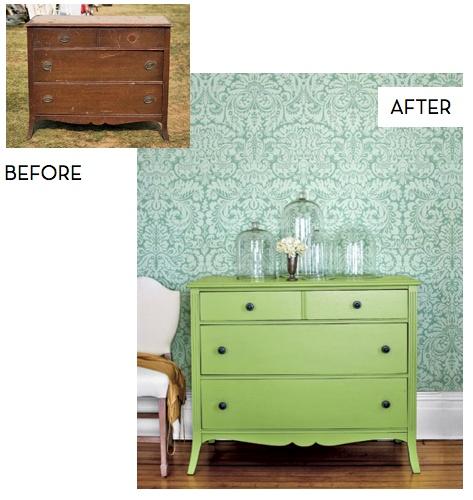 Beautiful green dresser re-do.