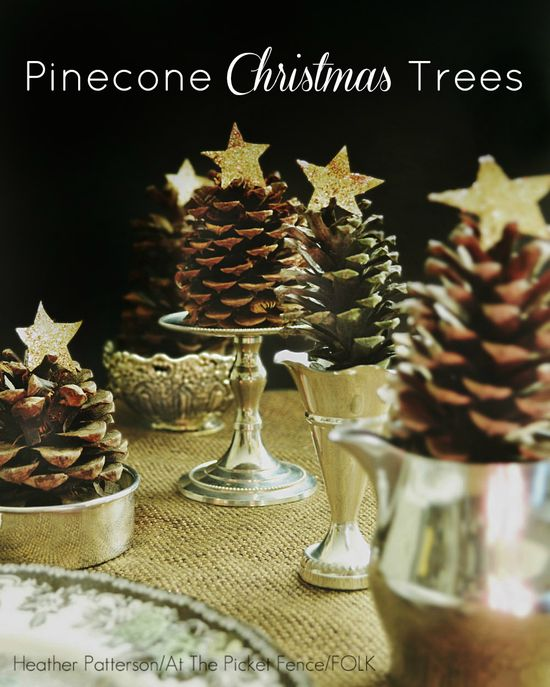 Too cute! Combine pinecones with vintage silver pieces to make mini Pinecone Christmas Trees!