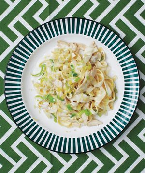 Creamy Fettuccine With Chicken and Leeks Recipe
