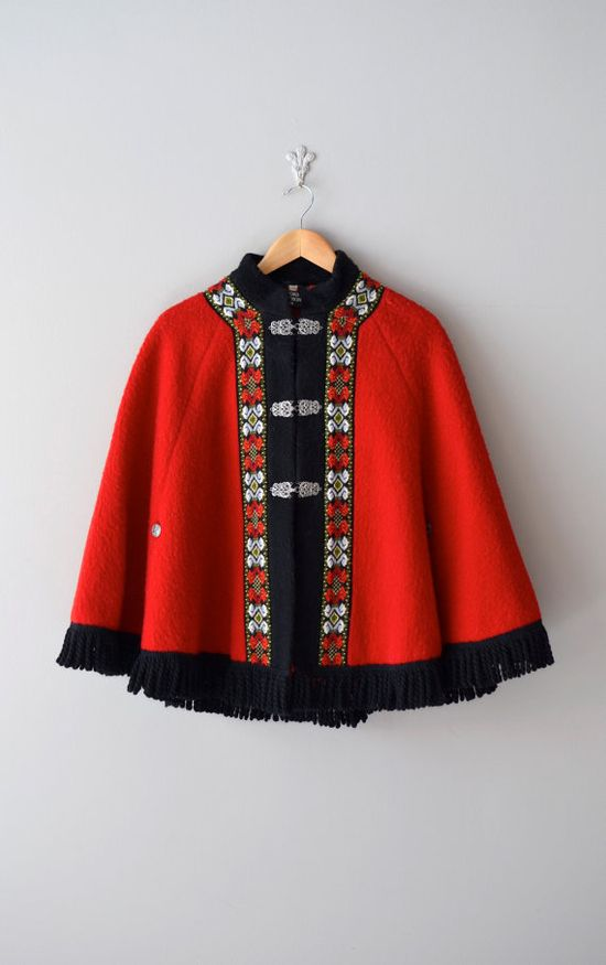 1960s Festival at Night wool cape    #folk #vintage #red