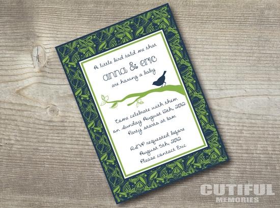 Custom printable baby shower invitation - Boy bird model. $12.00, via Etsy.